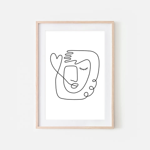 Abstract Woman Face Hand Heart Line Art No. 1 - Black and White Continuous Line Drawing Wall Decor - Print, Poster or Printable Download