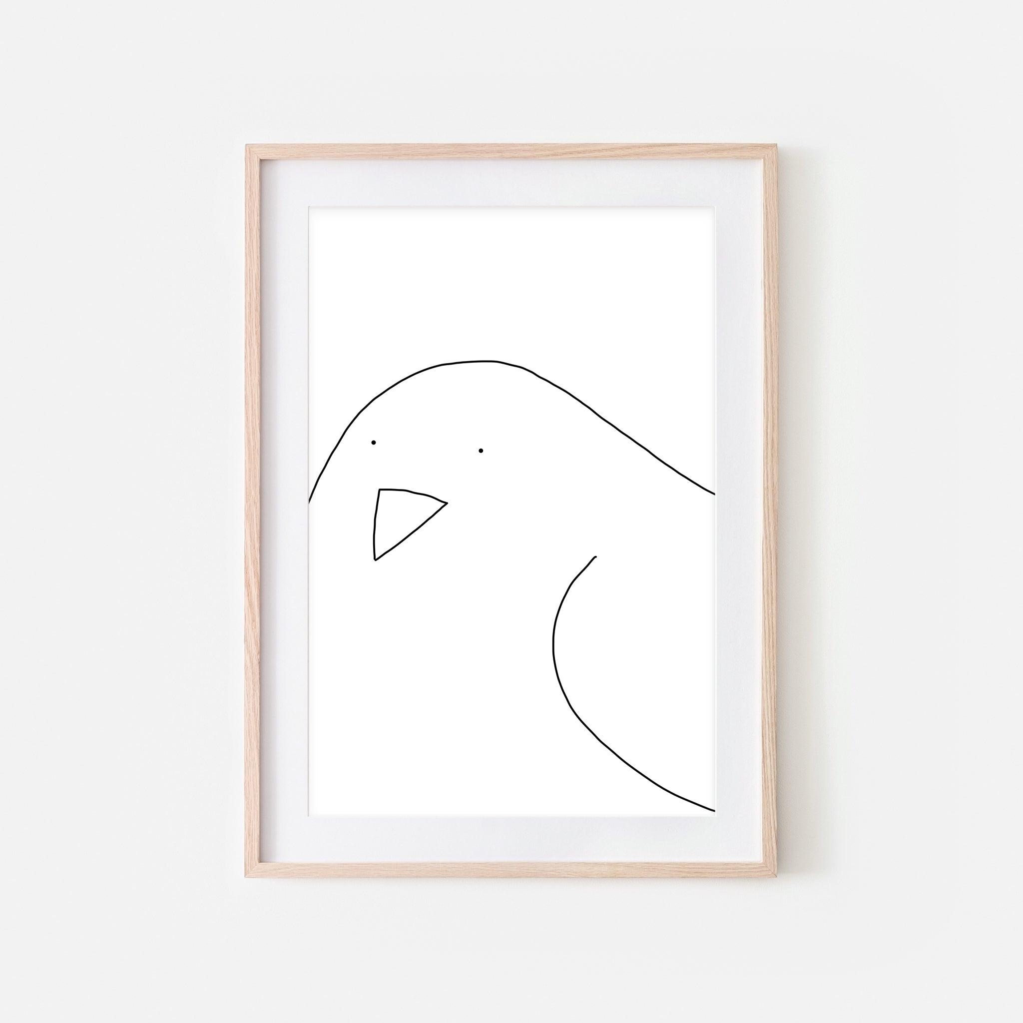 Bird No. 1 Wall Art - Minimalist Line Drawing - Black and White Print, Poster or Printable Download