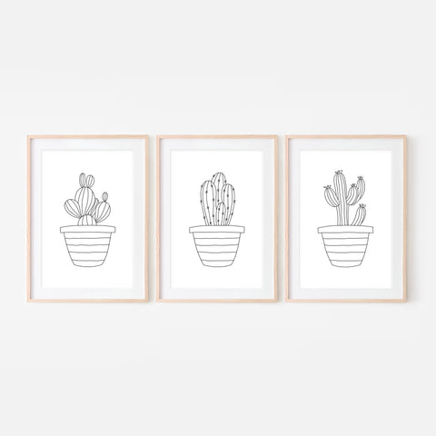 Set of 3 - Botanical Set No. 1 Wall Art - Minimalist Cactus Line Drawing - Black and White Print, Poster or Printable Download