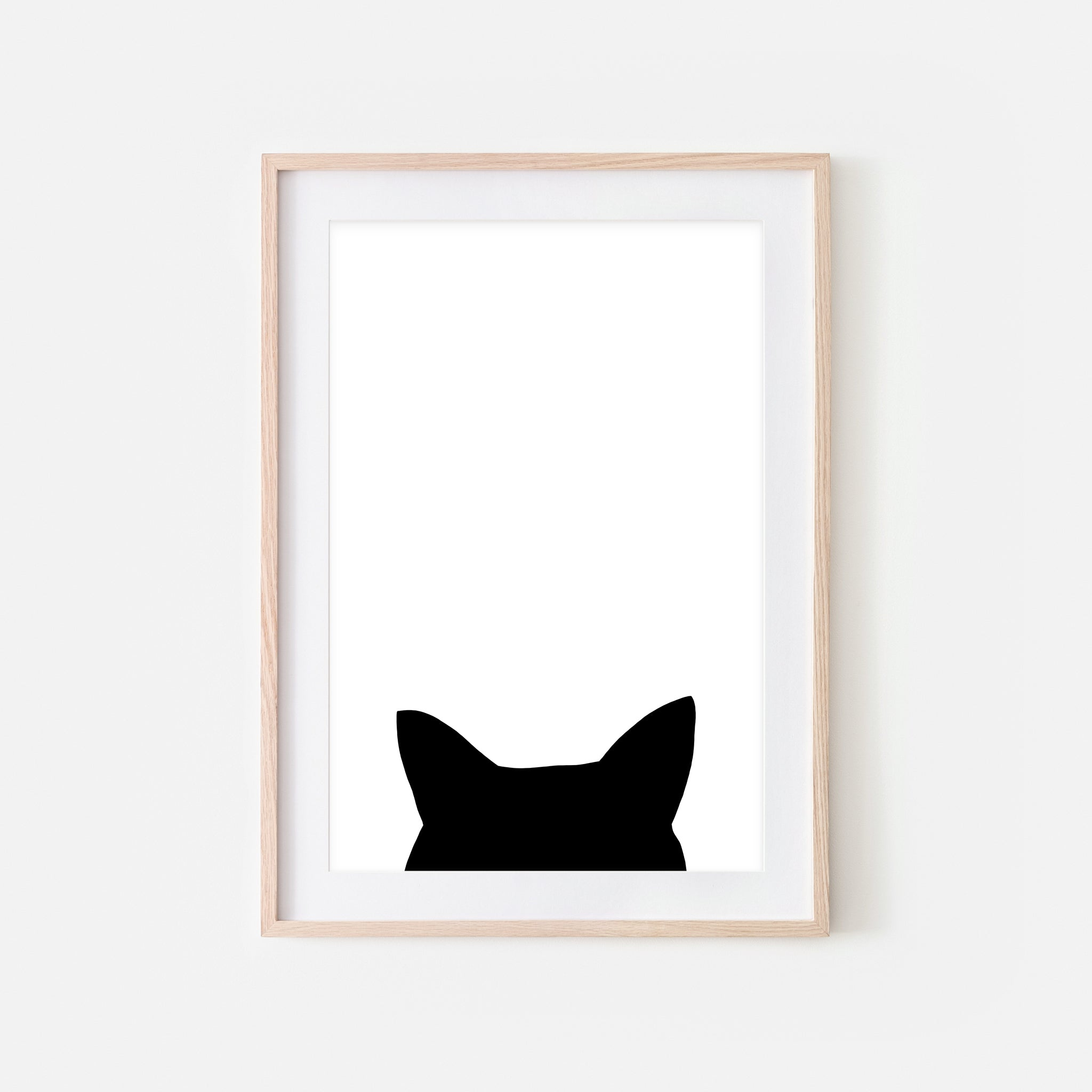 Cat Ears Head Silhouette Wall Art - Minimalist Black and White Print, Poster or Printable Download