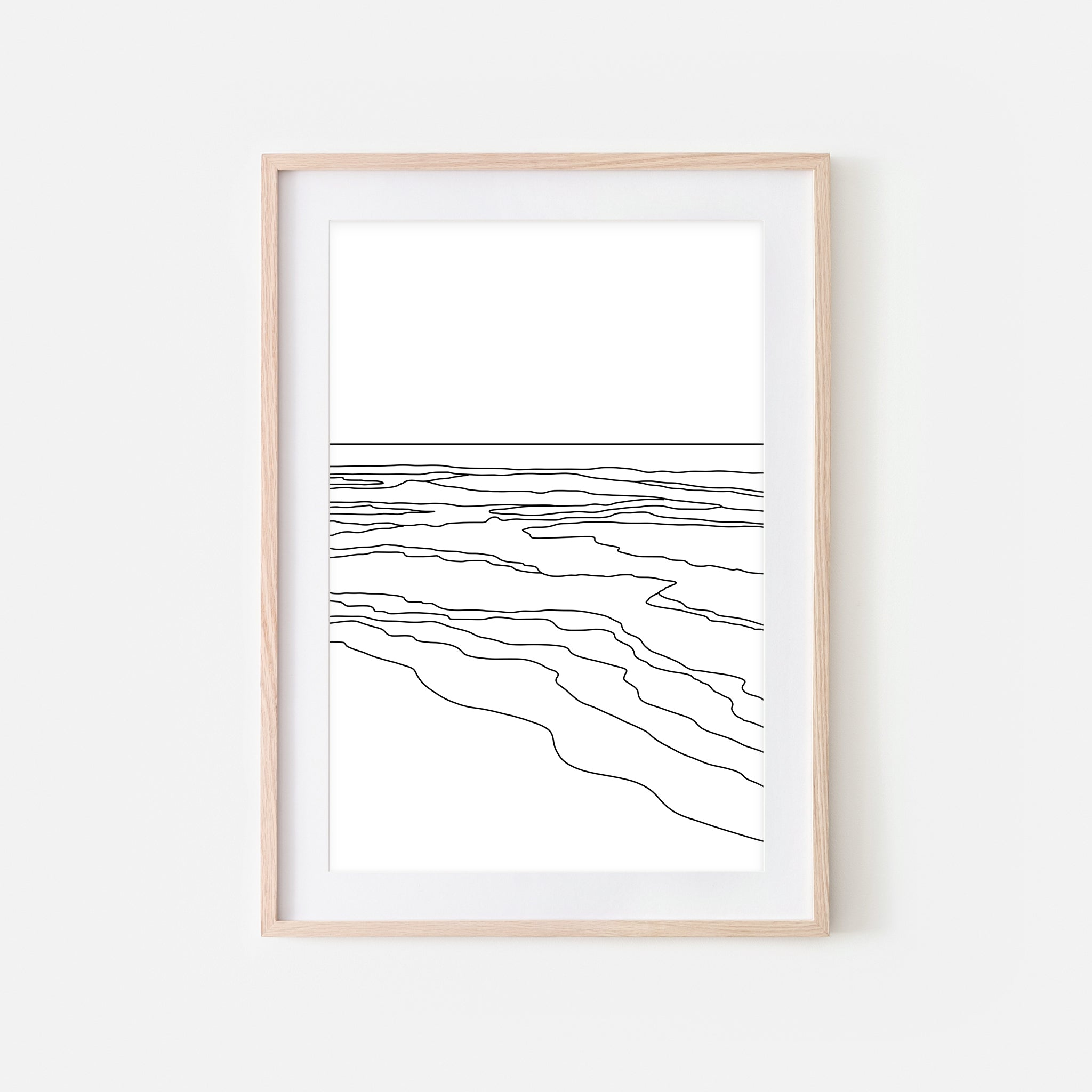 Beach No. 1 Wall Art - Minimalist Abstract Coastal Landscape Line Drawing - Black and White Print, Poster or Printable Download