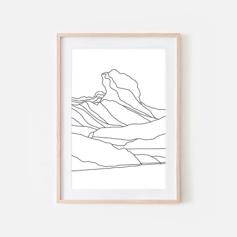 Glacier No. 1 Wall Art - Minimalist Abstract Iceberg Landscape Line Drawing - Black and White Print, Poster or Printable Download