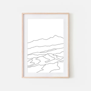 Mountains No. 1 Wall Art - Minimalist Abstract Landscape Line Drawing - Black and White Print, Poster or Printable Download