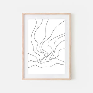 Northern Lights No. 1 Wall Art - Minimalist Abstract Landscape Line Drawing - Black and White Print, Poster or Printable Download