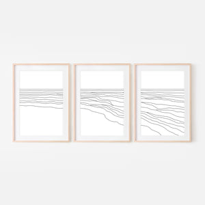 Beach Set No. 1 - Set of 3 Wall Art - Ocean Waves Line Art - Coastal Decor - Minimalist Abstract Landscape - Black and White Print, Poster or Printable Download