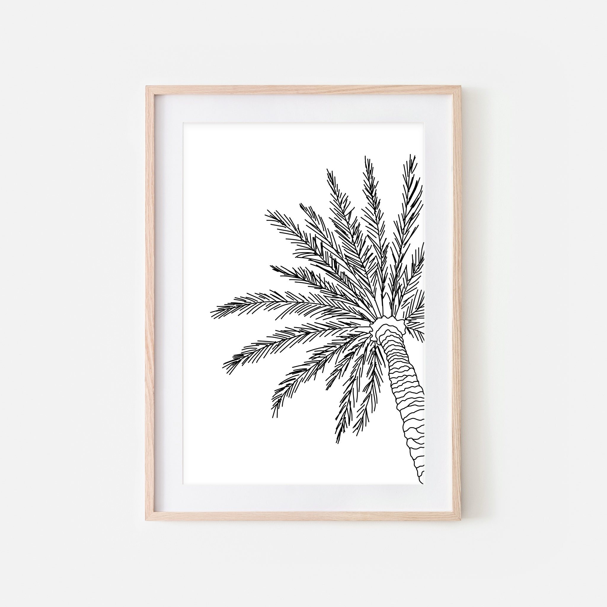 Palm Tree No. 1 Line Art - Minimalist Beach Tropical Wall Decor - Black and White Print, Poster or Printable Download