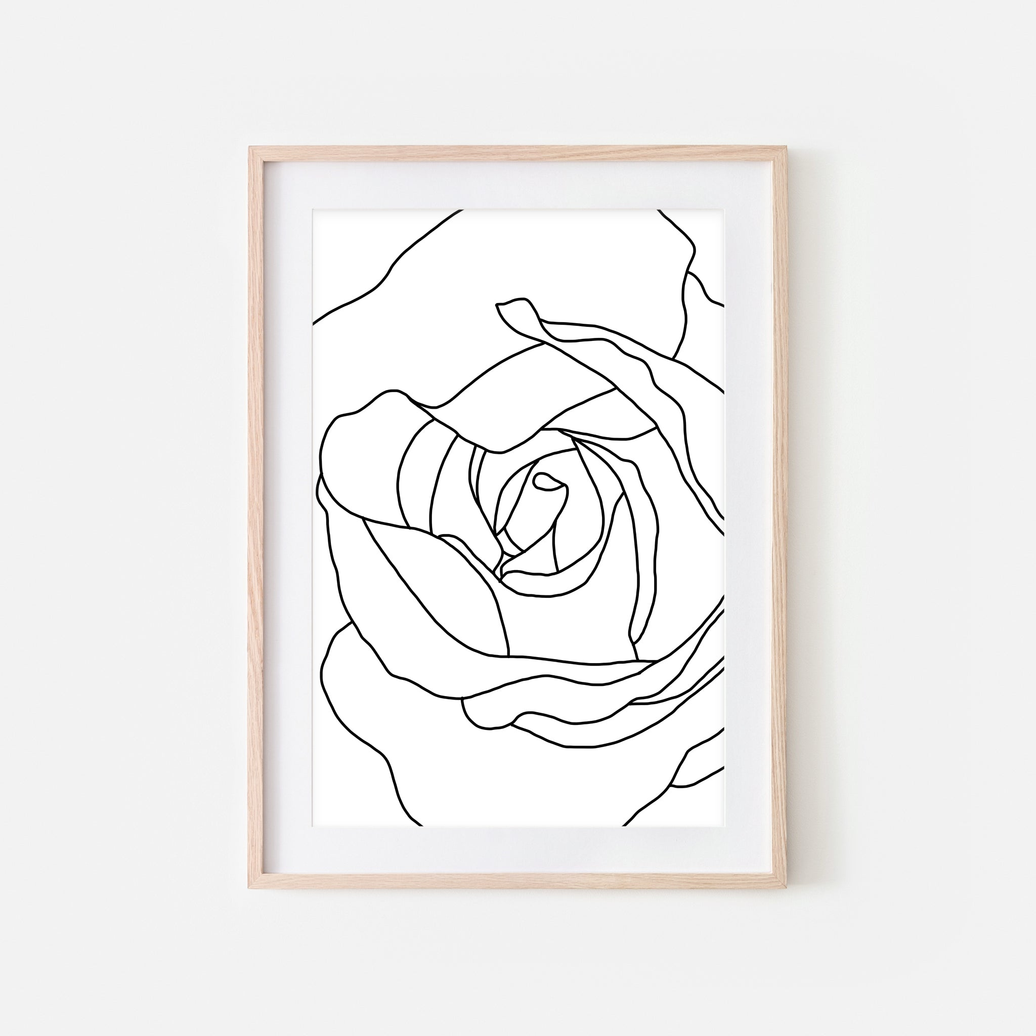 Floral No. 1 Wall Art - Minimalist Rose Flower Line Drawing - Black and White Print, Poster or Printable Download