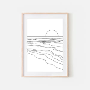 Sunset No. 1 Wall Art - Minimalist Abstract Beach Landscape Line Drawing - Black and White Print, Poster or Printable Download