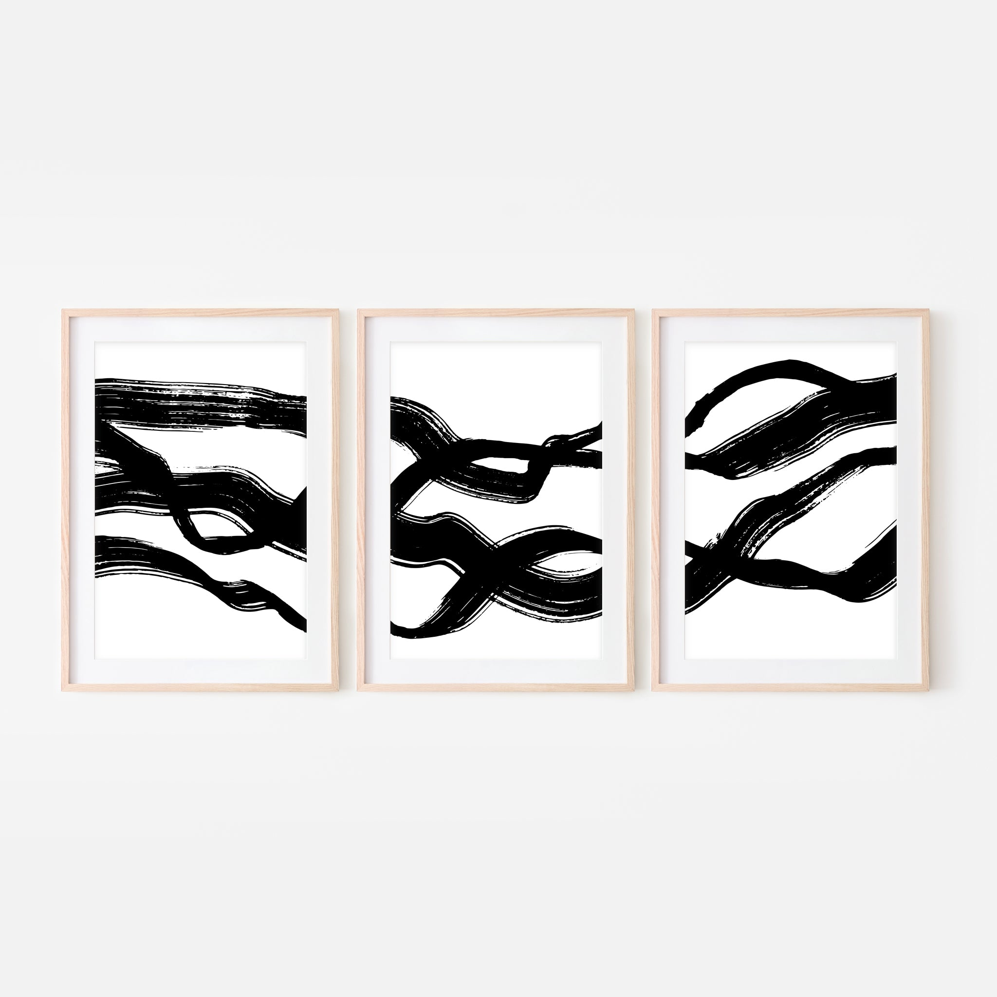 Set of 3 Abstract No. 10 Wall Art - Black and White Ribbon Line Ink Brush Strokes Painting - Print, Poster or Printable Download