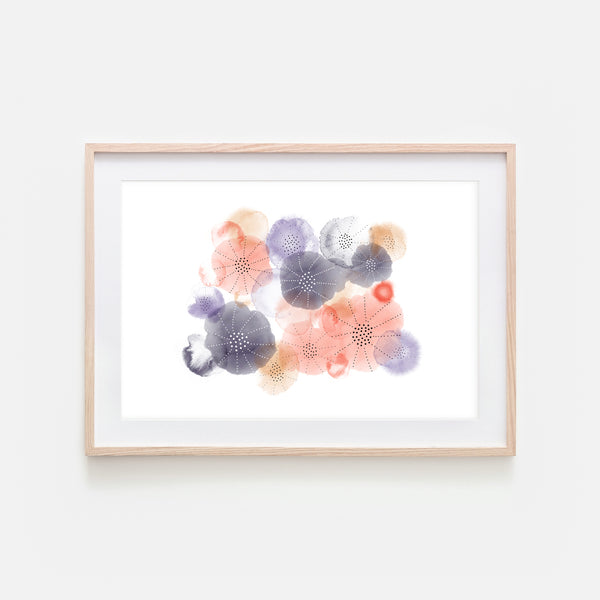 Abstract Watercolor No. 10 Wall Art - Purple Coral Beige Print, Poster or Printable Download - Horizontal