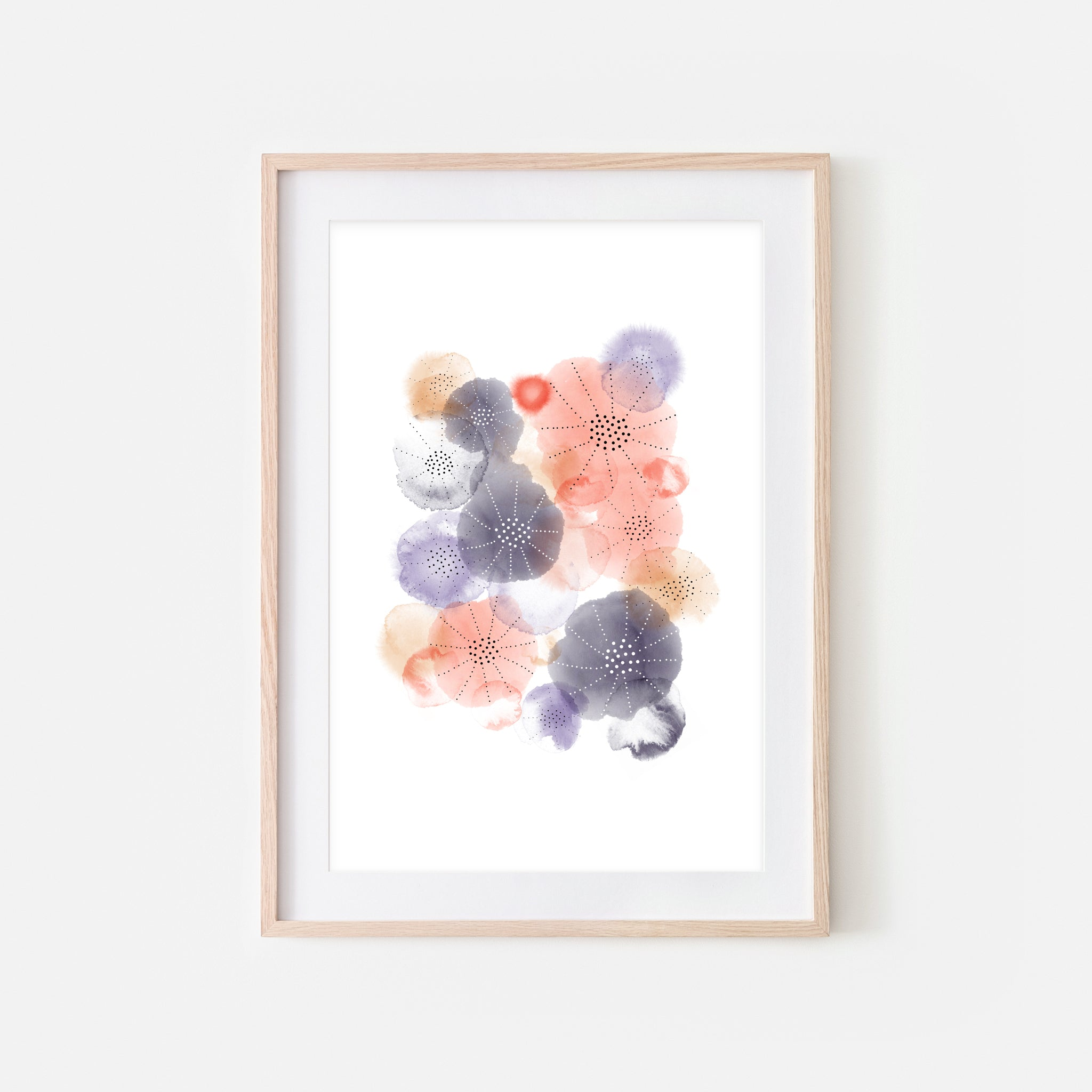 Abstract Watercolor No. 10 Wall Art - Purple Coral Beige Print, Poster or Printable Download - Vertical