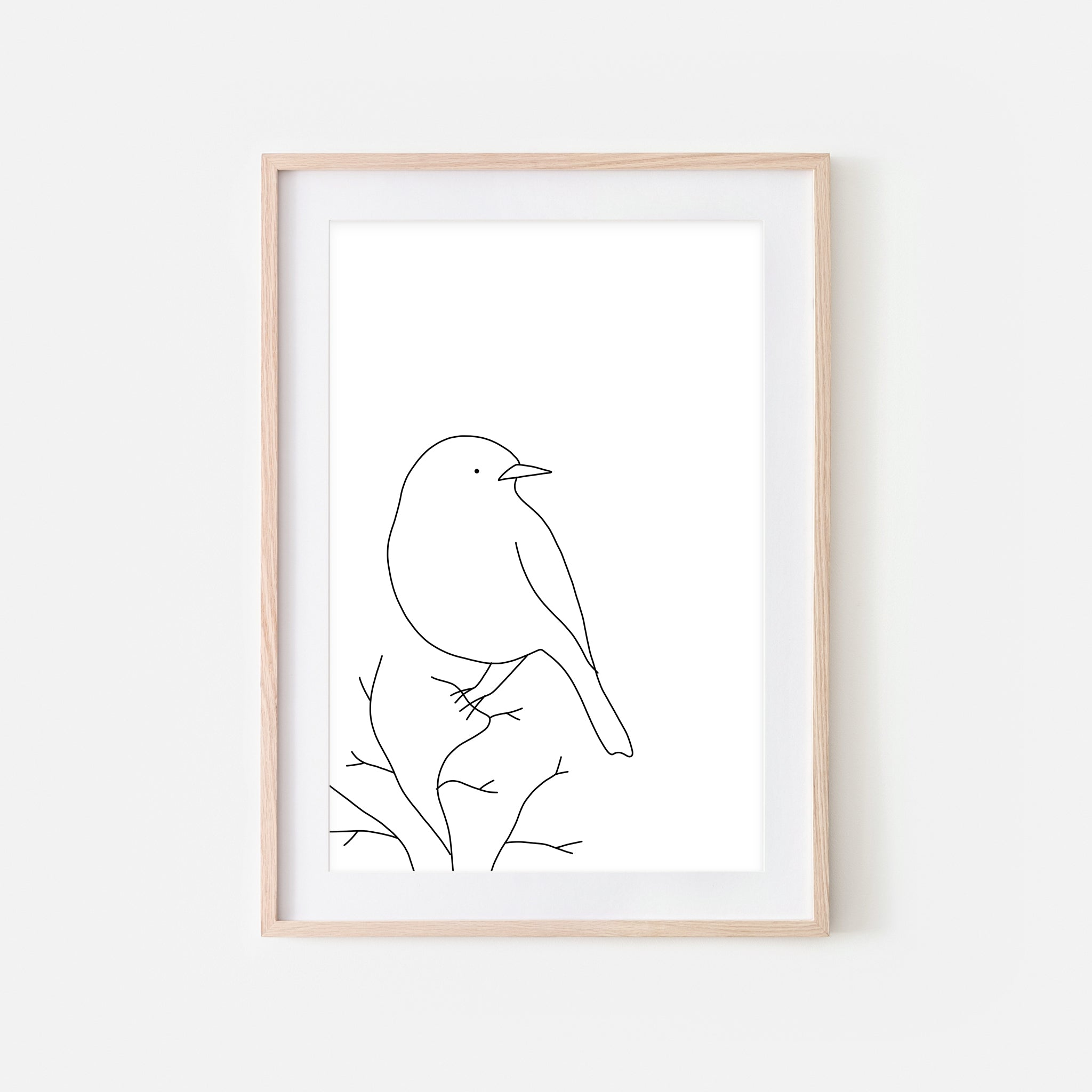 Bird on a Branch Wall Art No. 10 - Black and White Line Drawing - Print, Poster or Printable Download