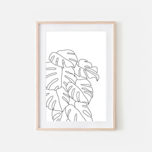 Botanical No. 10 Wall Art - Minimalist Monstera Leaves Line Drawing - Tropical Decor - Black and White Print, Poster or Printable Download