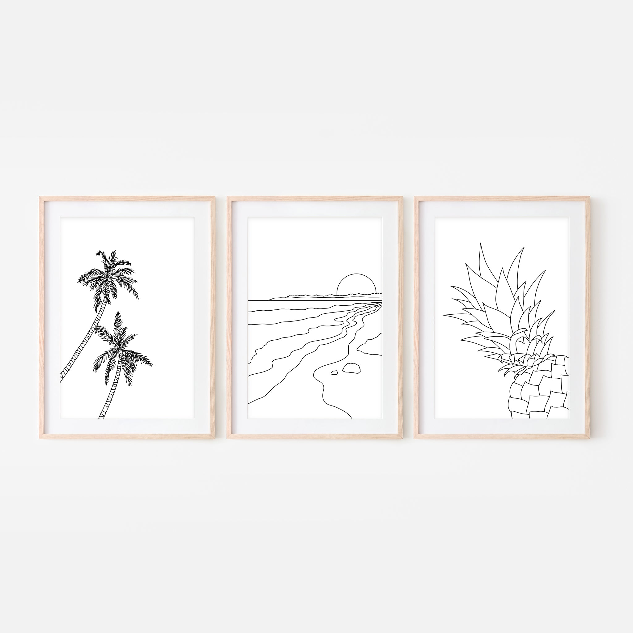 Set of 3 Beach Wall Art - Palm Tree Sunset Pineapple - Black and White Line Art Drawing - Print, Poster or Printable Download - Home Decor
