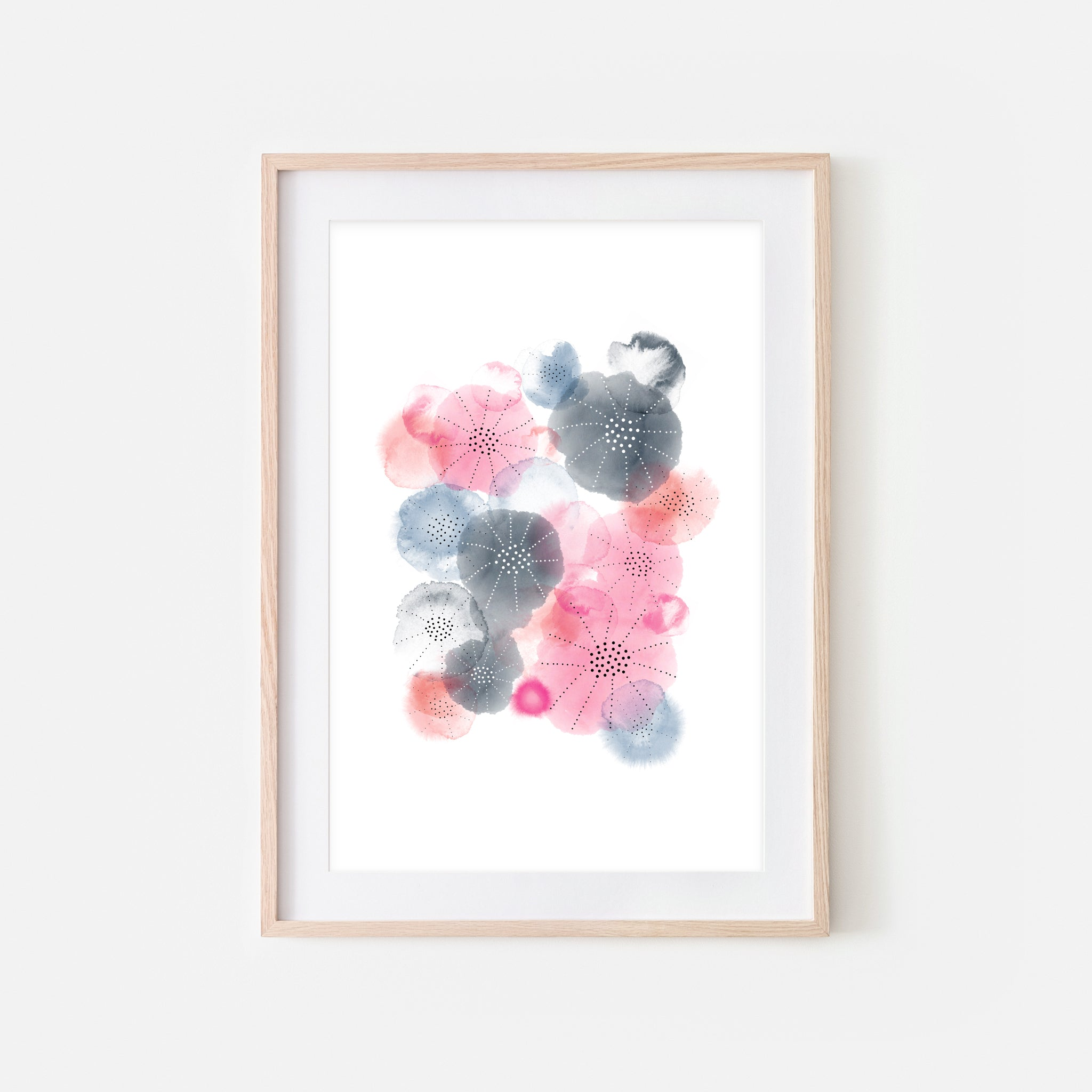 Abstract Watercolor No. 11 Wall Art - Pink Coral Charcoal Gray Navy Blue Print, Poster or Printable Download - Vertical