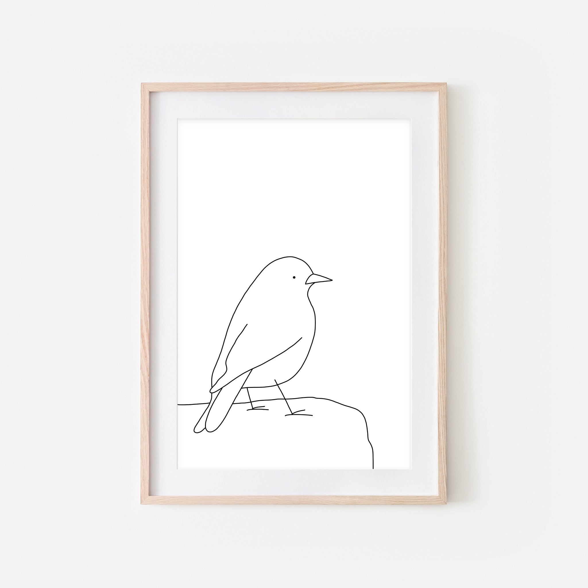 Bird on a Rock Wall Art No. 11 - Black and White Line Drawing - Print, Poster or Printable Download