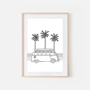 Beach No. 11 Line Art - Camper Van Surf Adventure Landscape Wall Art - Tropical Van Life Decor - Black and White Print, Poster or Printable Download