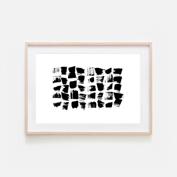 Abstract No. 12 Wall Art - Black and White Ink Brush Strokes Painting - Print, Poster or Printable Download - Horizontal