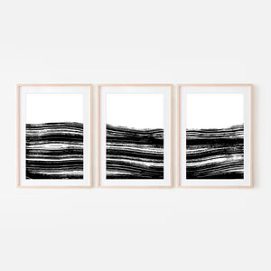 Set of 3 Abstract No. 12 Wall Art - Black and White Ocean Waves Ink Brush Strokes Painting - Print, Poster or Printable Download