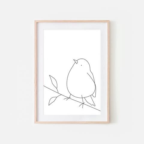 Bird on a Branch Wall Art No. 12 - Black and White Line Drawing - Print, Poster or Printable Download