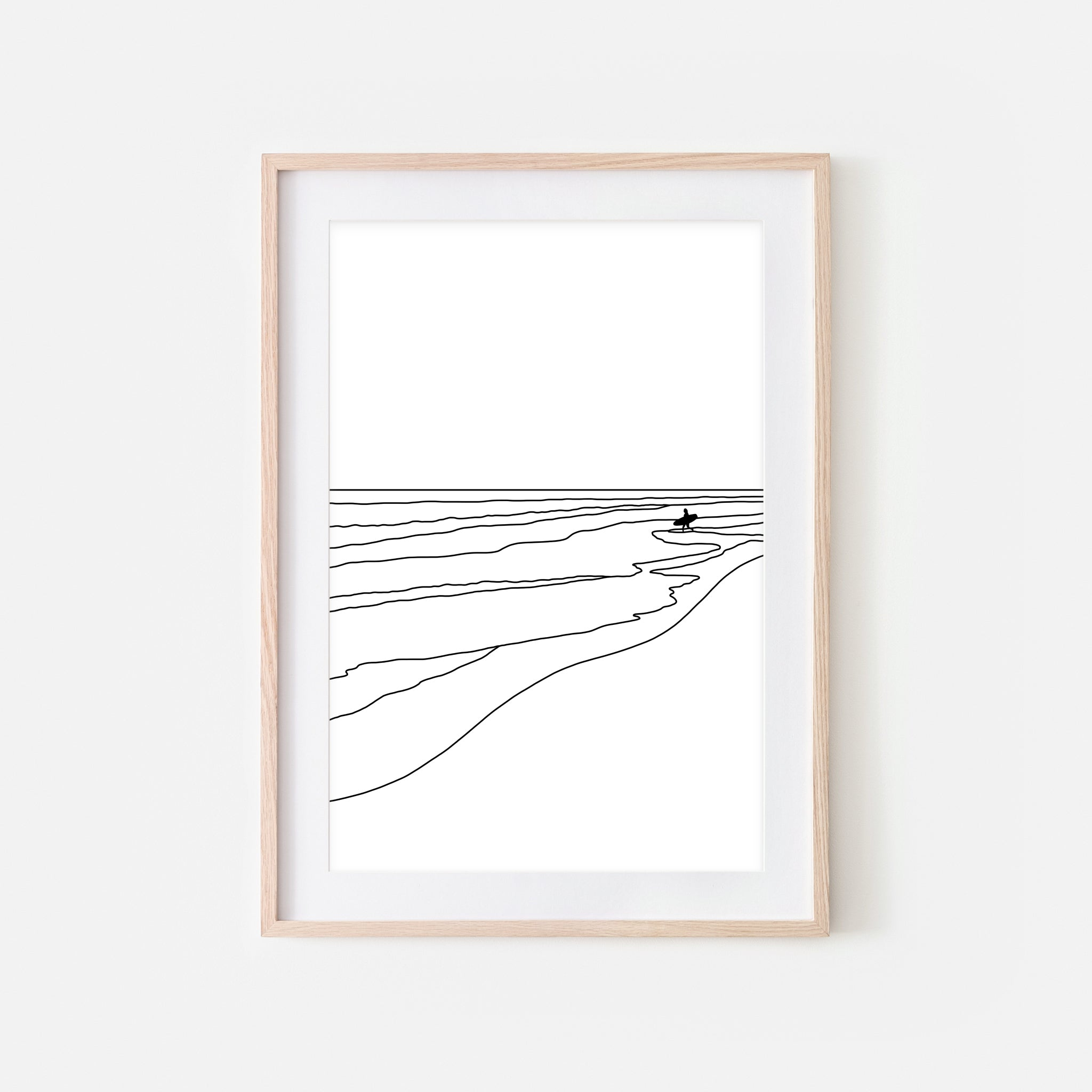 Beach No. 12 Wall Art - Surfer in Ocean Line Art -  Surf Decor - Black and White Print, Poster or Printable Download