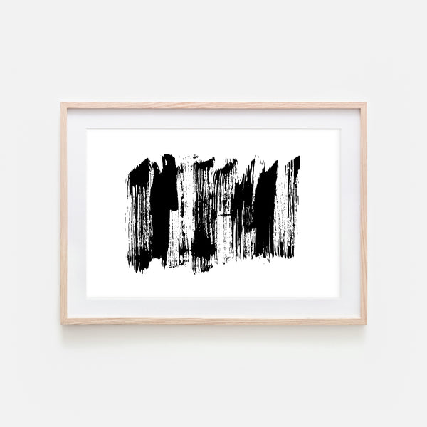 Abstract No. 13 Wall Art - Black and White Ink Brush Strokes Painting - Print, Poster or Printable Download - Horizontal