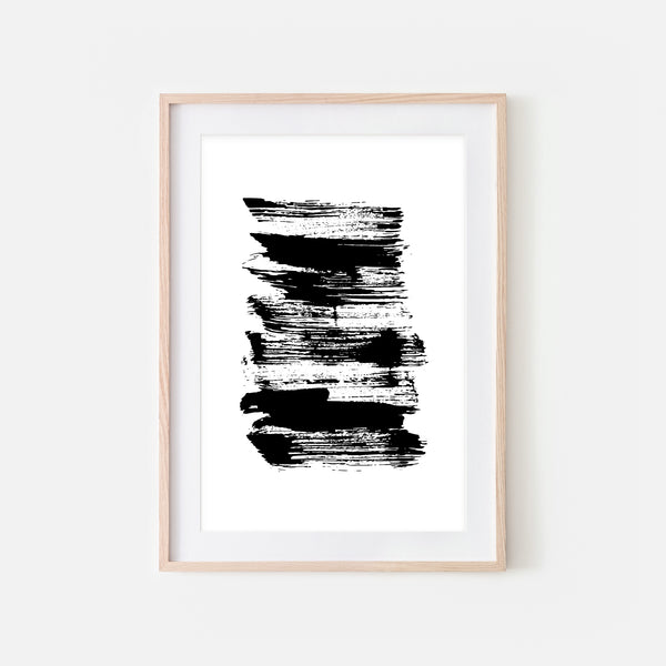 Abstract No. 13 Wall Art - Black and White Ink Brush Strokes Painting - Print, Poster or Printable Download - Vertical