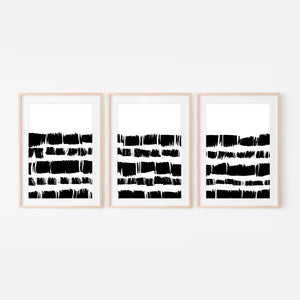Set of 3 Abstract No. 13 Wall Art - Black and White Square Dots Ink Brush Strokes Painting - Print, Poster or Printable Download