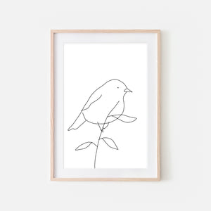 Bird on a Branch Wall Art No. 13 - Black and White Line Drawing - Print, Poster or Printable Download
