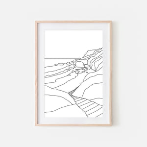 Beach No. 13 - Ocean Path - Wall Art - Black and White Line Art Drawing - Print, Poster or Printable Download - Home Decor