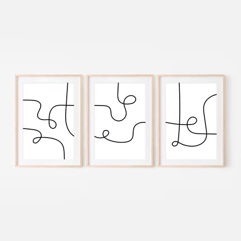 Set of 3 Abstract Line Art Wall Decor No. 14 - Black and White Continuous Line Drawing - Print, Poster or Printable Download