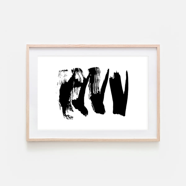 Abstract No. 14 Wall Art - Black and White Ink Brush Strokes Painting - Print, Poster or Printable Download - Horizontal