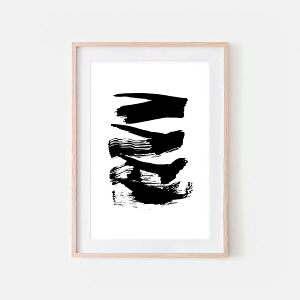 Abstract No. 14 Wall Art - Black and White Ink Brush Strokes Painting - Print, Poster or Printable Download - Vertical