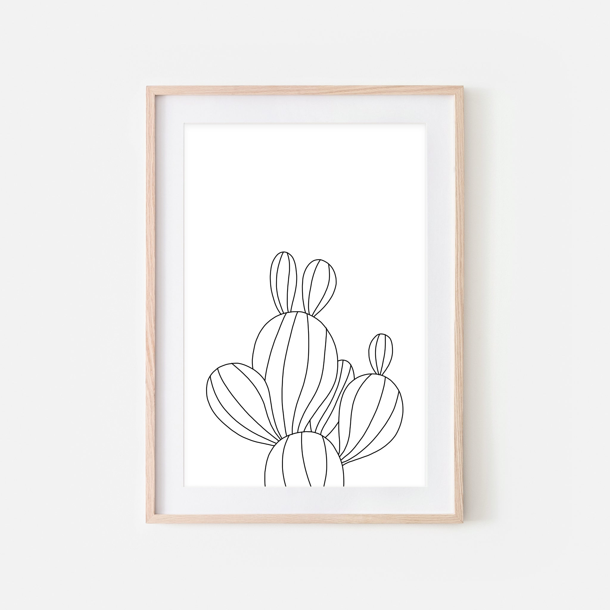 Botanical No. 14 Wall Art - Minimalist Cactus Line Drawing - Black and White Print, Poster or Printable Download