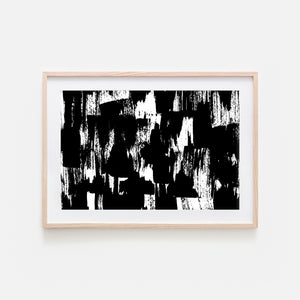 Abstract No. 15 Wall Art - Black and White Ink Brush Strokes Painting - Print, Poster or Printable Download - Horizontal