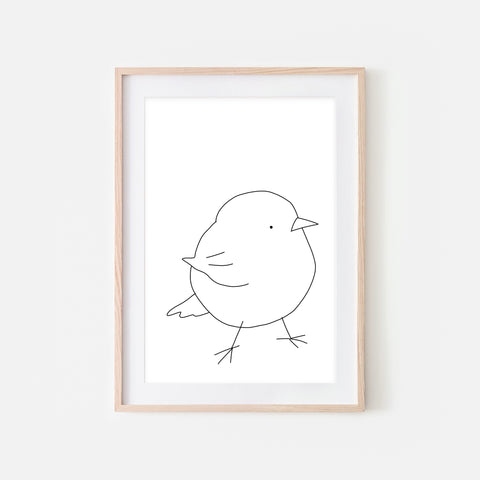 Baby Bird No. 15 Wall Art - Black and White Line Drawing - Print, Poster or Printable Download