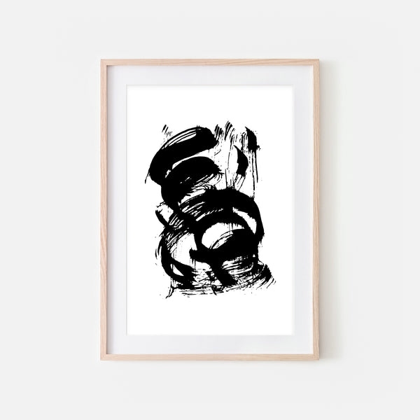 Abstract No. 16 Wall Art - Black and White Ink Brush Strokes Painting - Print, Poster or Printable Download - Vertical