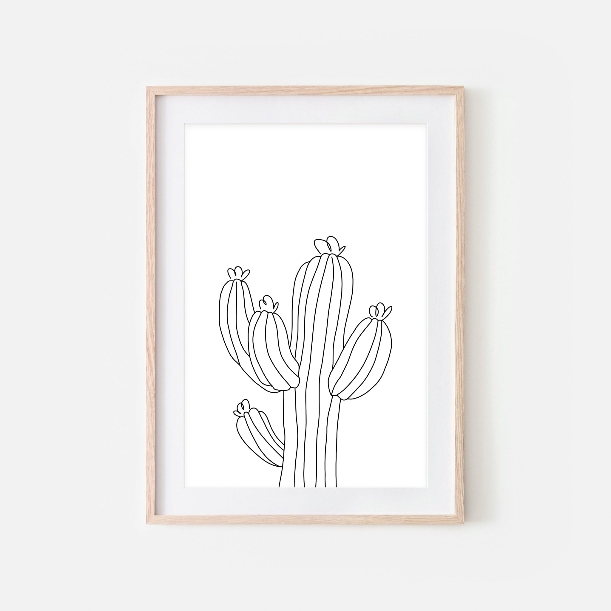 Botanical No. 16 Wall Art - Minimalist Cactus Line Drawing - Black and White Print, Poster or Printable Download
