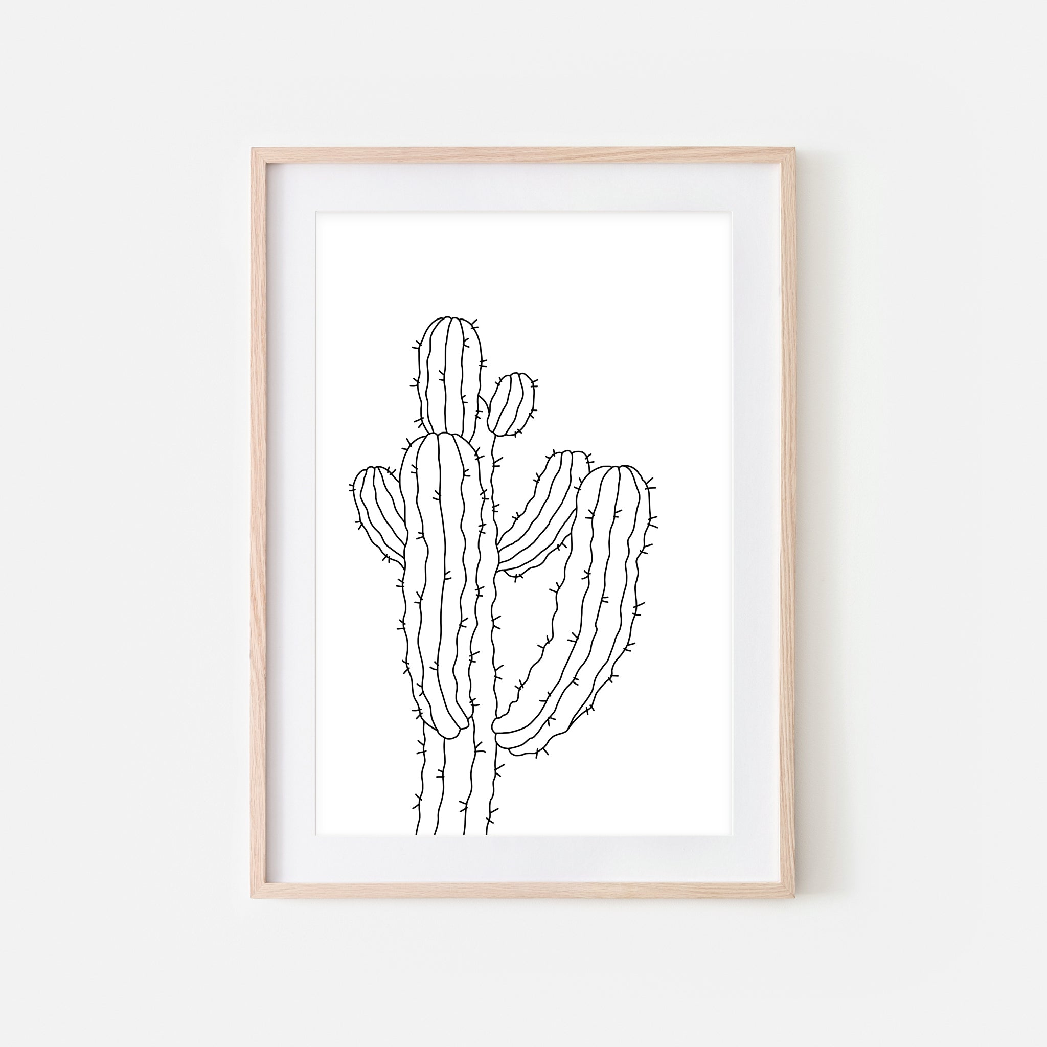 Botanical No. 17 Wall Art - Minimalist Cactus Line Drawing - Black and White Print, Poster or Printable Download