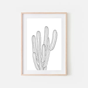 Botanical No. 18 Wall Art - Minimalist Cactus Line Drawing - Black and White Print, Poster or Printable Download