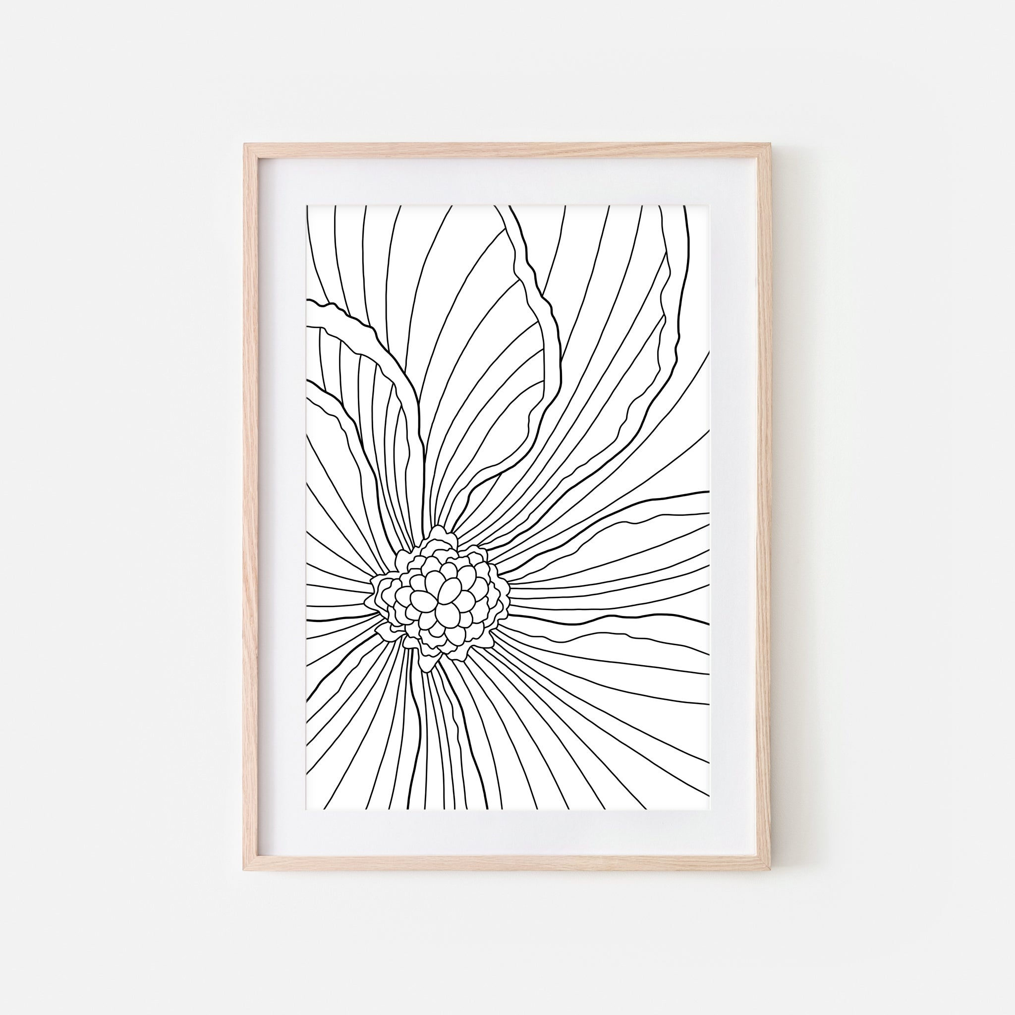 Floral No. 2 Wall Art - Minimalist Begonia Flower Line Drawing - Black and White Print, Poster or Printable Download
