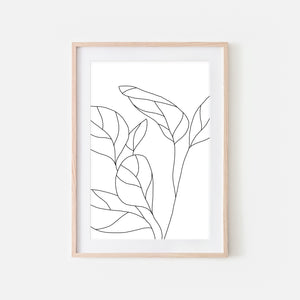 Botanical No. 2 Wall Art - Minimalist Plant Line Drawing - Black and White Print, Poster or Printable Download