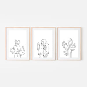 Set of 3 - Botanical Set No. 2 Wall Art - Minimalist Cactus Line Drawing - Black and White Print, Poster or Printable Download