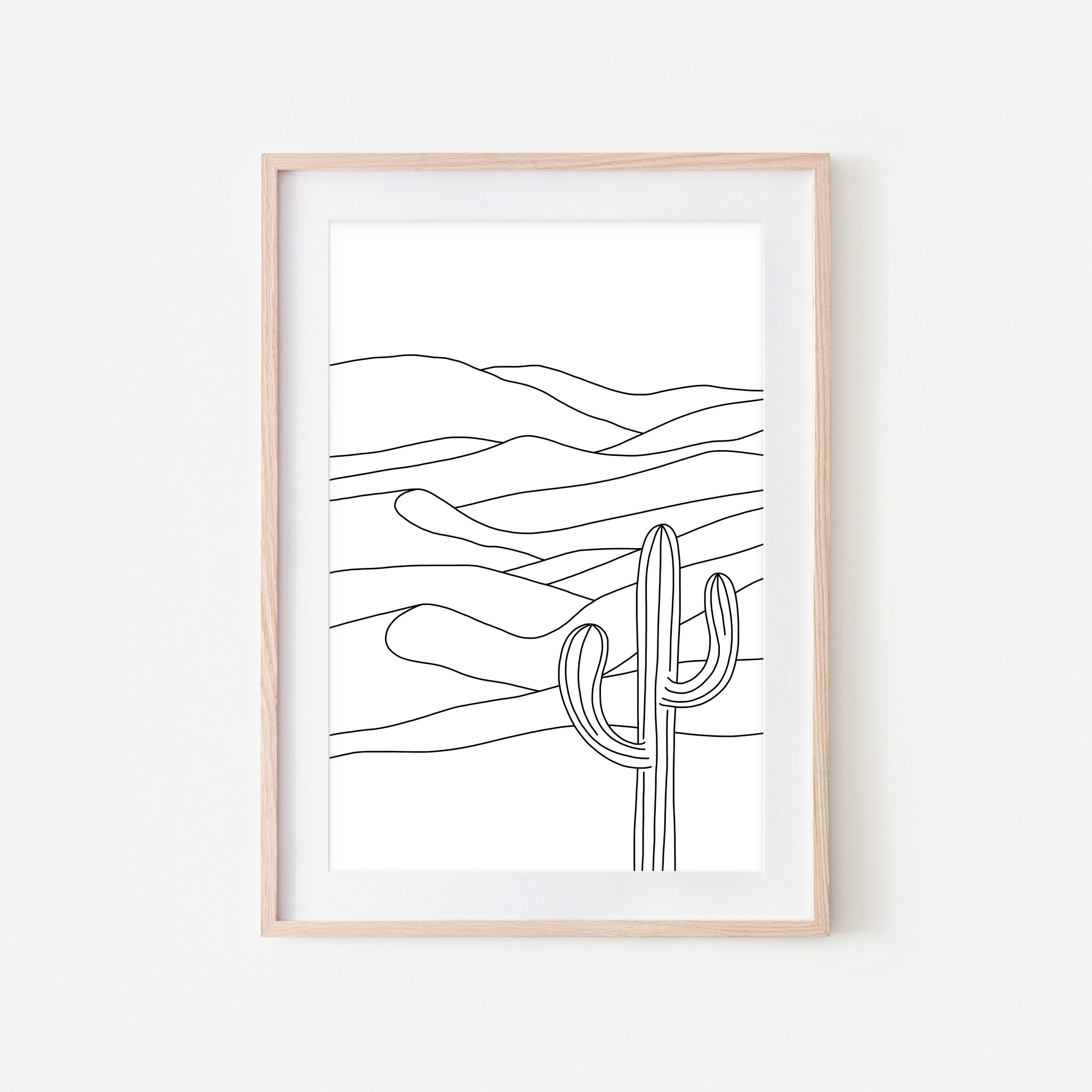 Desert No. 2 Wall Art - Cactus Sand Dunes Line Drawing - Minimalist Abstract Landscape - Black and White Print, Poster or Printable Download