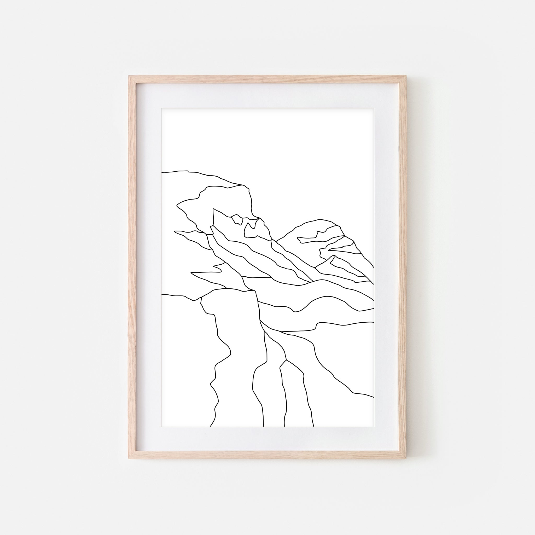 Mountains No. 2 Wall Art - Minimalist Abstract Landscape Line Drawing - Black and White Print, Poster or Printable Download