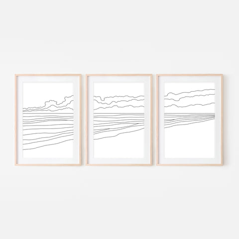 Beach Set No. 2 - Set of 3 Wall Art - Ocean Line Art - Coastal Decor - Minimalist Abstract Landscape - Black and White Print, Poster or Printable Download