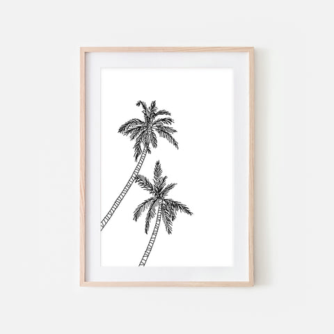 Palm Tree No. 2 Line Art - Minimalist Beach Tropical Wall Decor - Black and White Print, Poster or Printable Download
