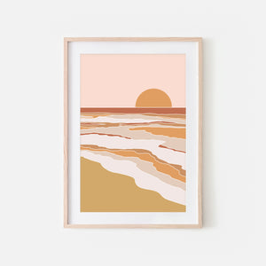 Sunset No. 2 Wall Art - Abstract Beach Landscape - Orange Beige Blush Pink Mustard Terracotta - Print, Poster or Printable Download