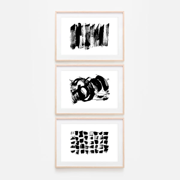 Set of 3 Abstract No. 3 Wall Art - Black and White Ink Brush Strokes Painting - Print, Poster or Printable Download - Horizontal
