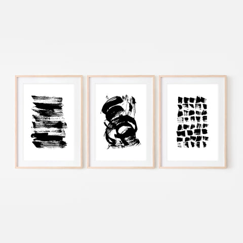 Set of 3 Abstract No. 3 Wall Art - Black and White Ink Brush Strokes Painting - Print, Poster or Printable Download - Vertical